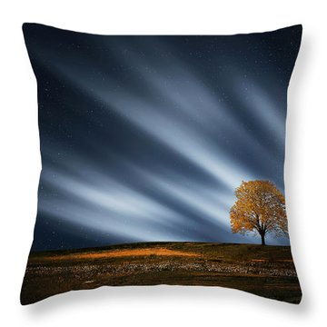 Tree At Night With Stars Throw Pillow by Bess Hamiti