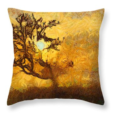 Tree At Sunset - Digital Painting In Van Gogh Style With Warm Orange And Brown Colors Throw Pillow by Matthias Hauser