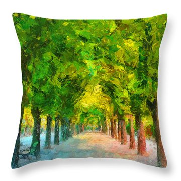 Tree Avenue In The Vienna Augarten Throw Pillow by Menega Sabidussi