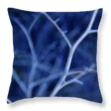 Tree Branches Abstract Blue Throw Pillow by Jennie Marie Schell