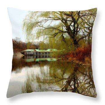 Tree By The River  Throw Pillow by Mark Ashkenazi