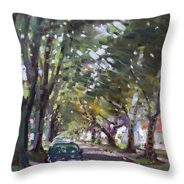 Tree Covered 81st Street Lasalle Throw Pillow