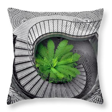 Tree Fern In The Stairs Throw Pillow by Daniel Furon
