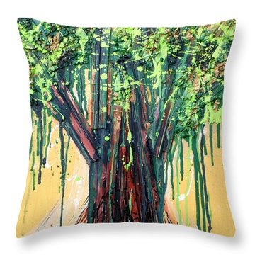 Tree Grit Throw Pillow by Genevieve Esson