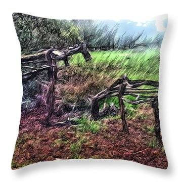 Tree Horse Throw Pillow