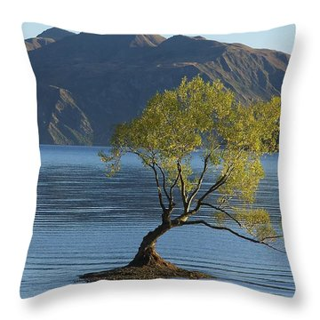 Tree In Lake Wanaka Throw Pillow