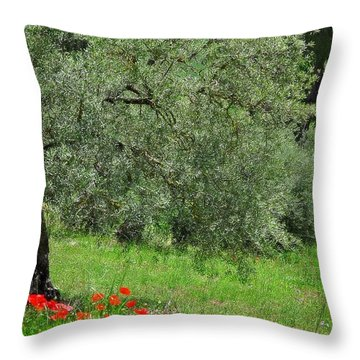 Tree In The Meadow Near Ronda  Throw Pillow by Mary Machare