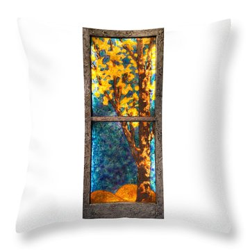 Tree Inside A Window Throw Pillow