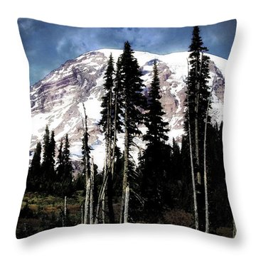 Tree Line Throw Pillow by Timothy Bulone