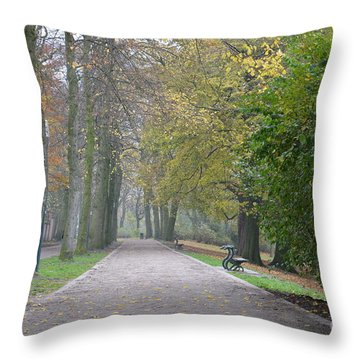 Throw Pillow featuring the photograph Tree Lined Path In Fall Season Bruges Belgium by Imran Ahmed