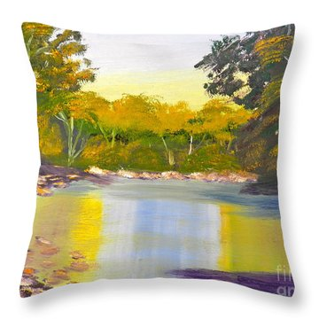 Tree Lined River Throw Pillow