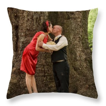 Tree Lovers- Bride And Groom Throw Pillow by Kathleen K Parker