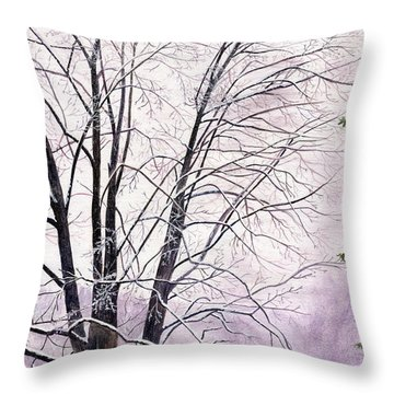 Throw Pillow featuring the painting Tree Memories by Melly Terpening