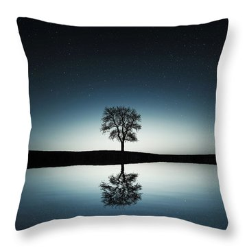 Tree Near Lake At Night Throw Pillow by Bess Hamiti