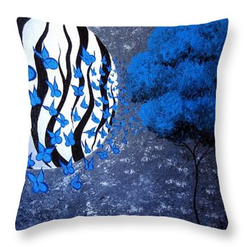 Throw Pillow featuring the painting Tree Of Butterflies by Oddball Art Co by Lizzy Love