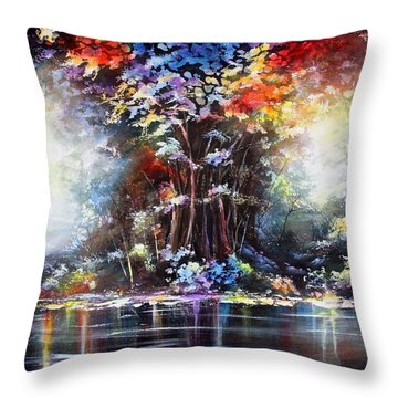 Throw Pillow featuring the painting Tree Of Life 2 by Patricia Lintner