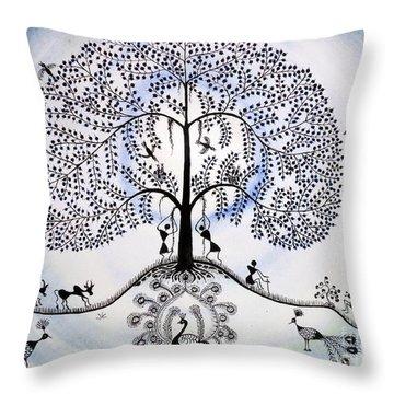 Tree Of Life Throw Pillow by Anjali Vaidya