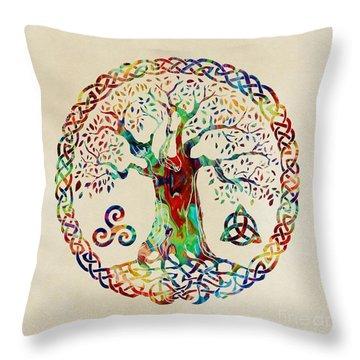 Tree Of Life Throw Pillow by Olga Hamilton