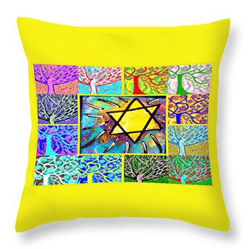 -tree Of Life Star Throw Pillow by Sandra Silberzweig