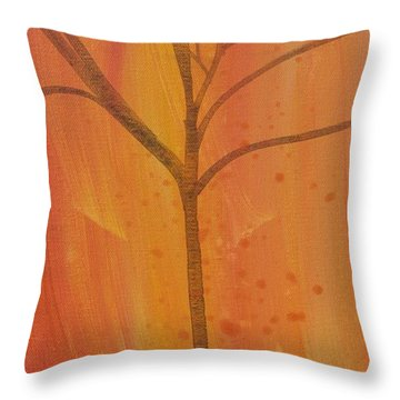 Throw Pillow featuring the painting Tree Of Three Coral by Robin Maria Pedrero