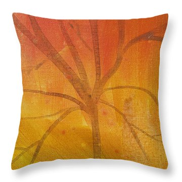 Throw Pillow featuring the painting Tree Of Three Gold by Robin Maria Pedrero