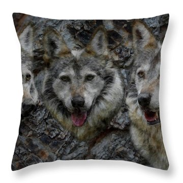 Tree Of Wolves Throw Pillow by Ernie Echols
