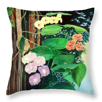 Tree Orchids Throw Pillow