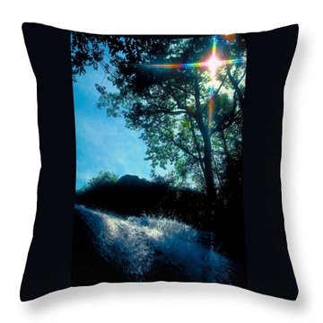 Tree Planted By Streams Of Water Throw Pillow