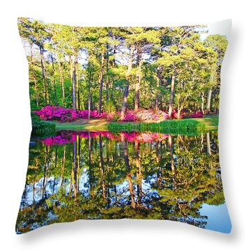 Tree Reflections And Pink Flowers By The Blue Water By Jan Marvin Studios Throw Pillow