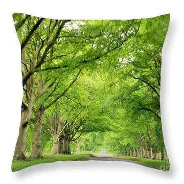 Tree Avenue Throw Pillow by Katy Mei