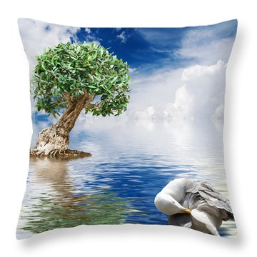 Tree Seagull And Sea Throw Pillow