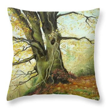 Throw Pillow featuring the painting Tree by Sorin Apostolescu