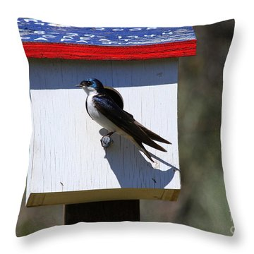 Tree Swallow Home Throw Pillow by Mike  Dawson