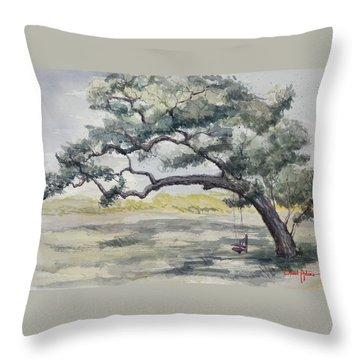 Da187 Tree Swing Painting By Daniel Adams Throw Pillow