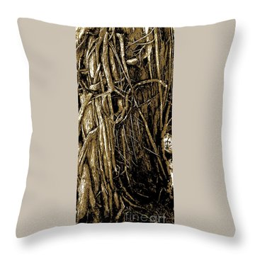 Throw Pillow featuring the digital art Tree Textures by Sally Simon