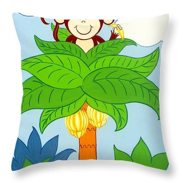 Tree Top Monkey Throw Pillow