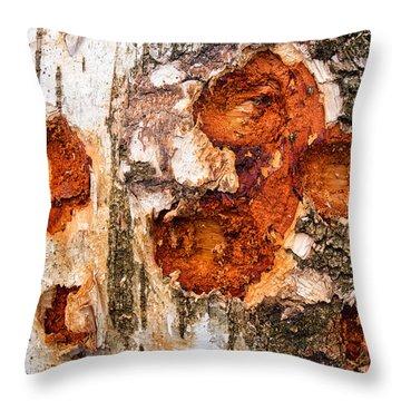 Tree Trunk Closeup - Wooden Structure Throw Pillow