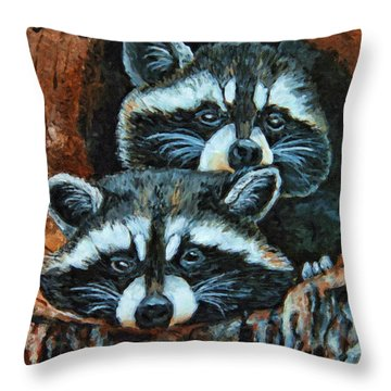 Tree Trunk Raccoons Throw Pillow by Kenny Francis