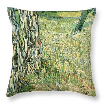 Tree Trunks In Grass Throw Pillow by Vincent van Gogh