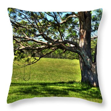 Tree With A Swing Throw Pillow by Kaye Menner
