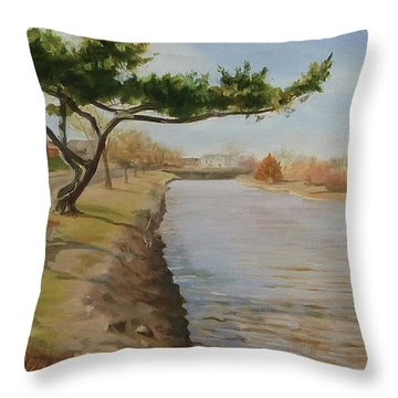 Tree With Lake Throw Pillow
