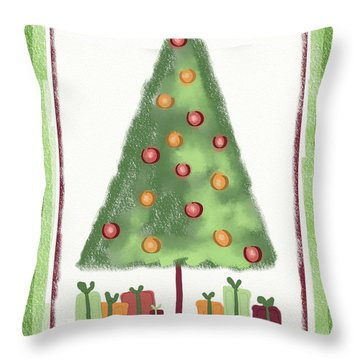 Throw Pillow featuring the digital art Tree With Presents by Arline Wagner