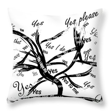 Throw Pillow featuring the painting Tree Yes Tree by Go Van Kampen