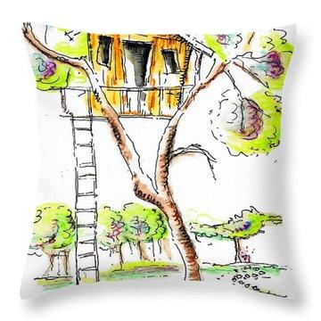 Treehouse Throw Pillow by Jason Nicholas