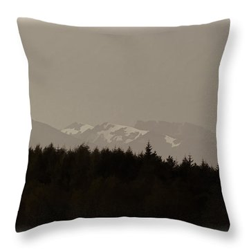 Treeline With Ice Capped Mountains In The Scottish Highlands Throw Pillow by Ashish Agarwal