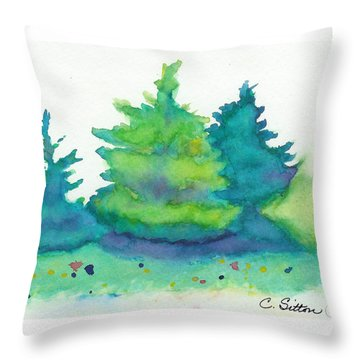 Throw Pillow featuring the painting Trees 2 by C Sitton