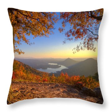 Trees Aflame Throw Pillow by Debra and Dave Vanderlaan