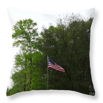 Trees And Flag Throw Pillow by Joseph Baril