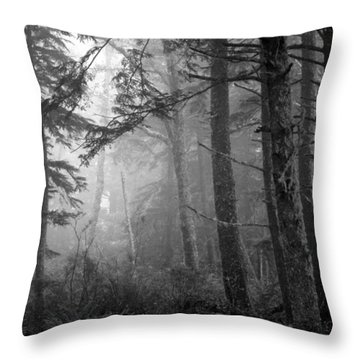 Throw Pillow featuring the photograph Trees And Fog by Tarey Potter