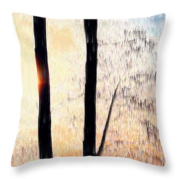 Throw Pillow featuring the digital art Trees And Light  by Lyle Crump